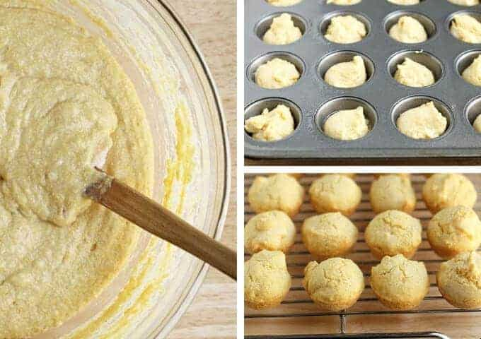 maple cornbread muffins step by step process