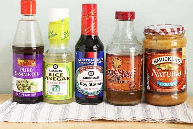 ingredients for peanut sauce in jars
