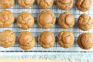 healthy pumpkin muffins on rack