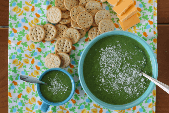 creamy broccoli soup with peas for adult and baby with crackers and cheese