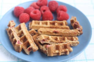Healthy Waffles with Raspberries