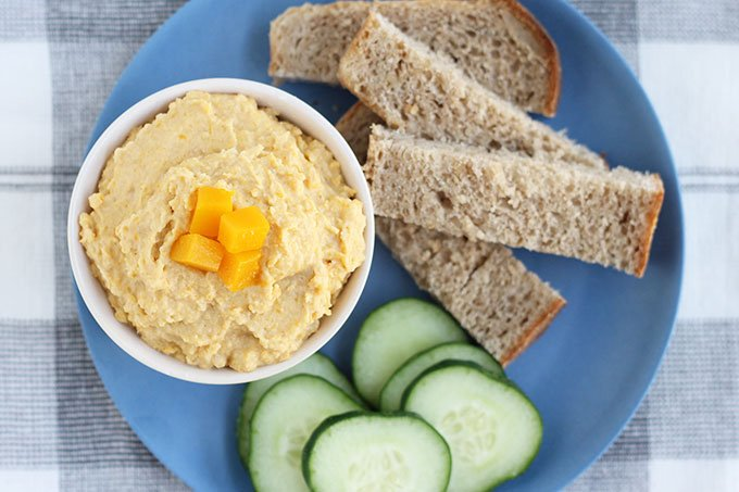 butternut squash hummus on plate with dippers