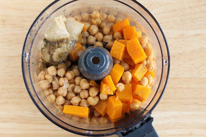 butternut squash hummus ingredients in food processor