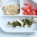 healthy chicken and brown rice on kids plate