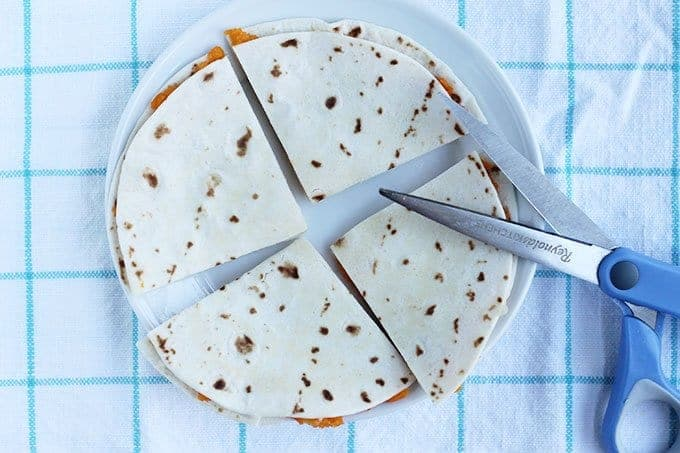 cut up sweet potato quesadilla