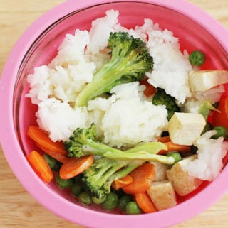green curry in a pink bowl with rice and tofu