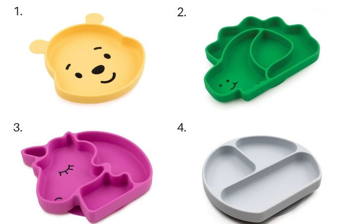 bumkins silicone grip dishes in grid