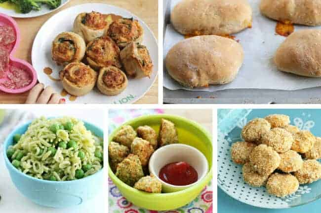 make ahead toddler dinners in grid with pizza rolls, pasta, broccoli tots and nuggets