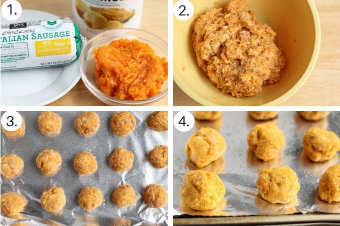 how to make baked chicken meatballs with sweet potato