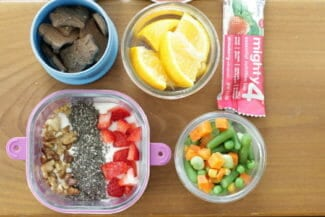 Toddler Lunch: Yogurt with Fruit, Vegetable Medley