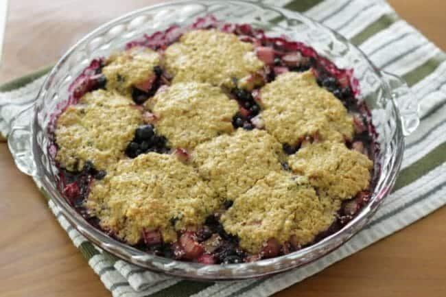 Blueberry-Rhubarb Cobbler with Yogurt