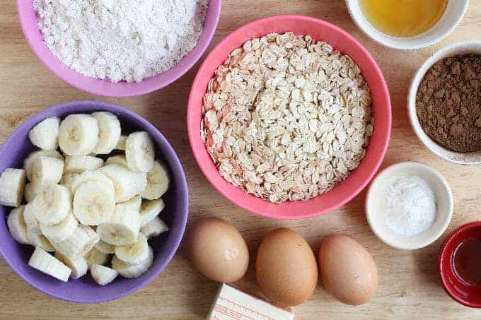 ingredients for chocolate banana muffins