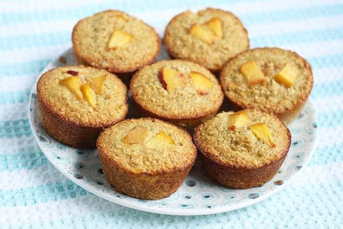 banana peach oatmeal muffins on plate