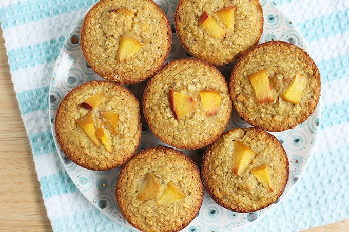 healthy baked oatmeal with banana and peach on plate