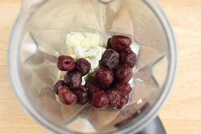 cherry smoothie ingredients in blender
