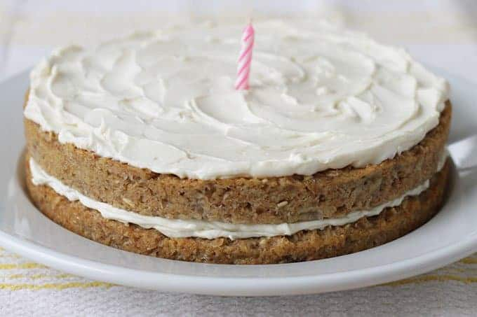 layered banana cake with cream cheese frosting