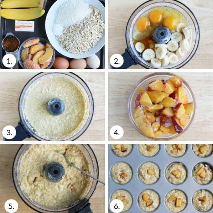 how to make peach muffins step by step