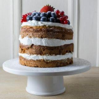 healthy smash cake on cake stand