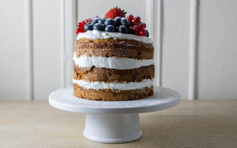 healthy smash cake on cake stand