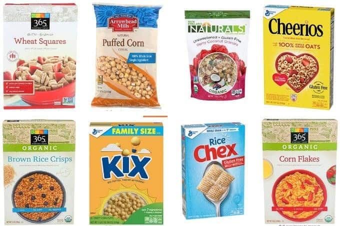 best low sugar cereals for kids in grid of 6