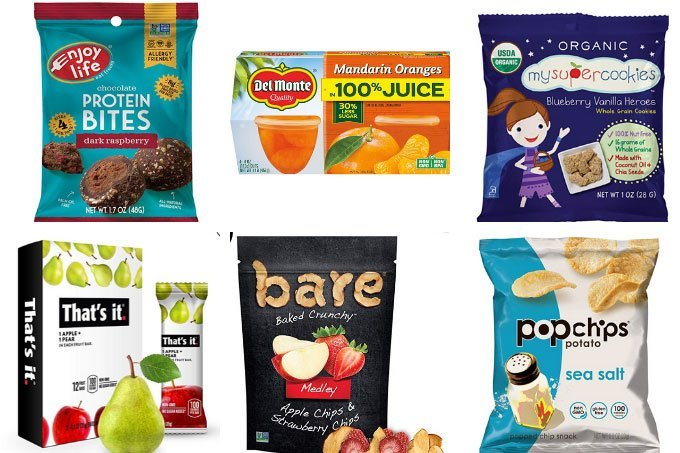 food allergy snacks in grid of 6