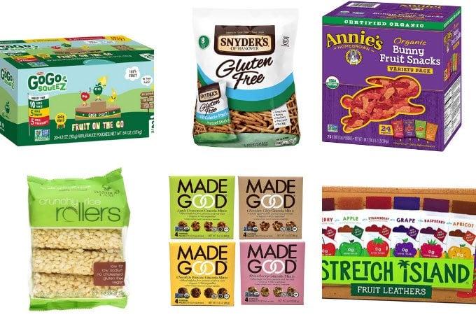 food allergy snacks in grid