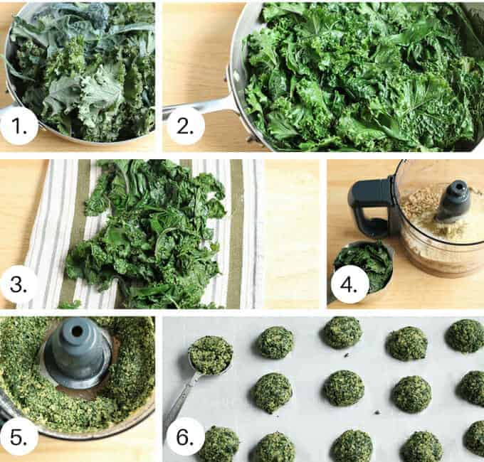 how to make baked kale bites step by step