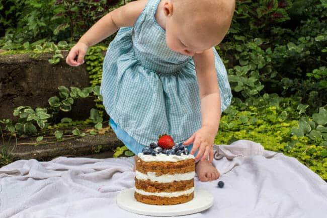 First Birthday Smash Cake with Yogurt Frosting
