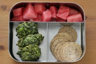Toddler Lunch Idea: Cheesy Kale Bites and Crackers