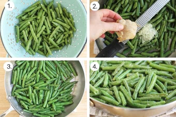 grid with process of making sesame green beans