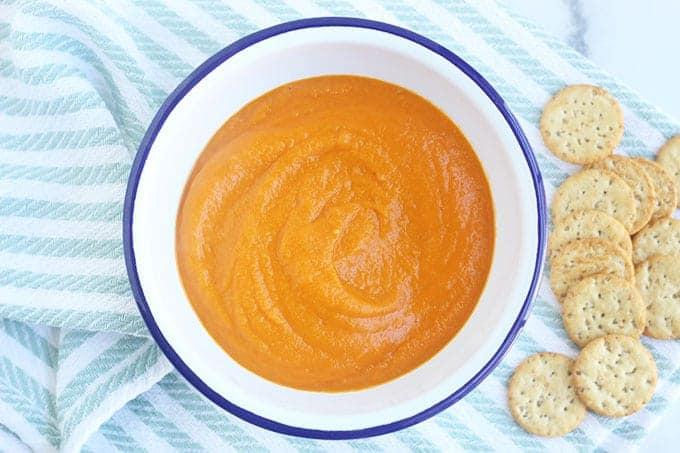 vegan tomato soup in white bowl