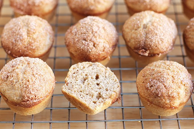 healthy-cinnamon-muffins on wire rack