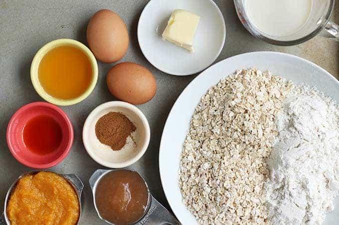 ingredients in butternut squash muffins