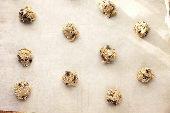 healthy chocolate chip cookie dough on parchment paper
