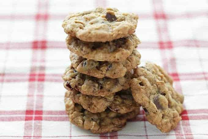 healthy chocolate chip cookies stack