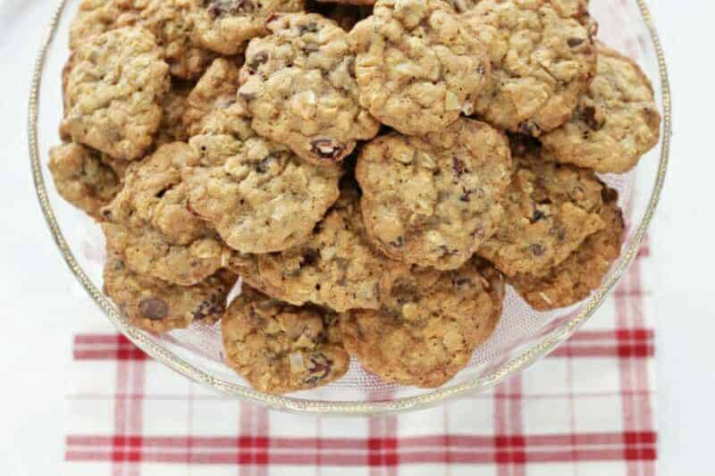 healthy chocolate chip oatmeal cookies on plate