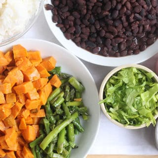 grain bowls with rice and beans