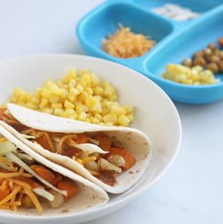 parent and kids roasted sweet potato taco plates