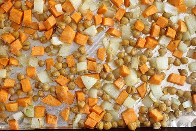 roasted sweet potato and chickpeas on sheet pan