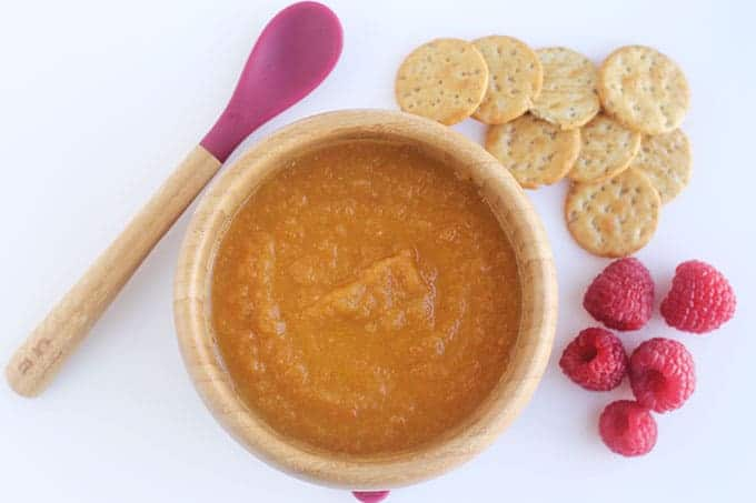 roasted carrot soup in kids bamboo bowl