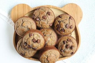 Banana Chocolate Chip Muffins (with Whole Grains and Less Sugar)