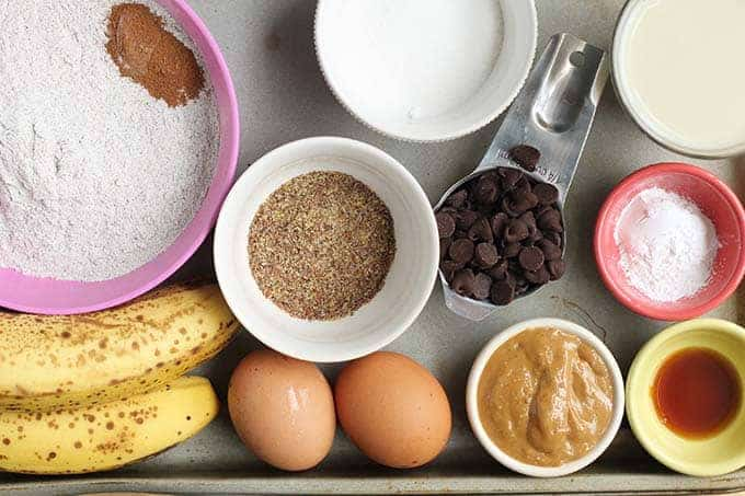 ingredients in banana chocolate chip muffins