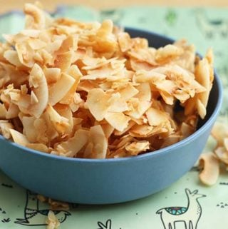coconut chips in blue bowl