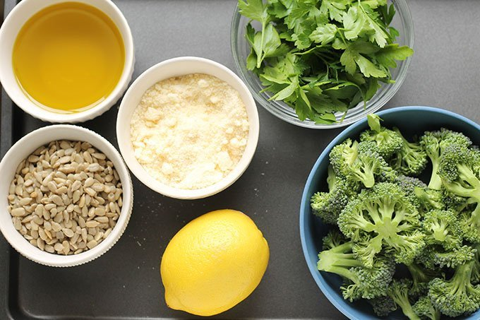 ingredients in broccoli pesto in bowls