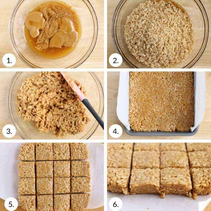 how to make peanut butter rice krispie bars step by step