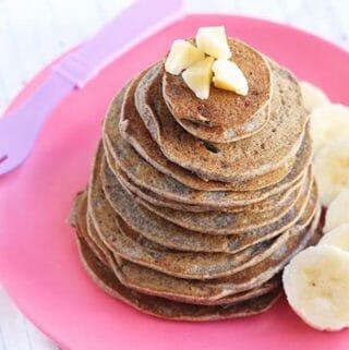 stack of vegan banana pancakes