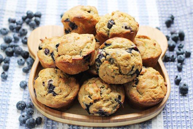 blueberry-banana-zucchini-muffins-on-plate