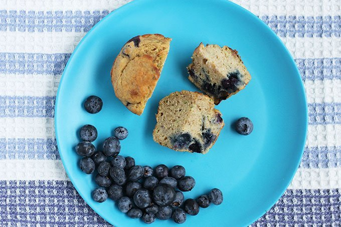 sliced blueberry banana zucchini muffin on blue plate