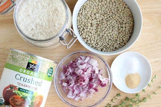ingredients in Italian lentils recipe