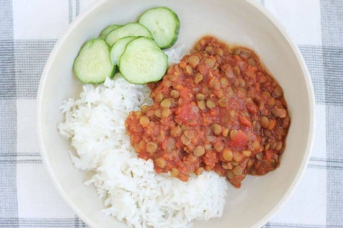 italian green lentils with rice and cucumbers